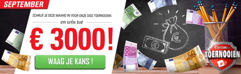 Win tot 3.000 euro met gokken tijdens toernooi bij Circus.be